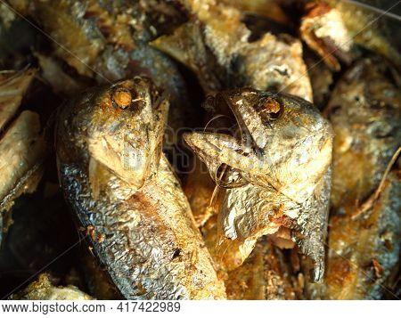 Close-up Fried Mackerel Fish. The Most Popular Fish Menu In Thailand. Selective Focus.