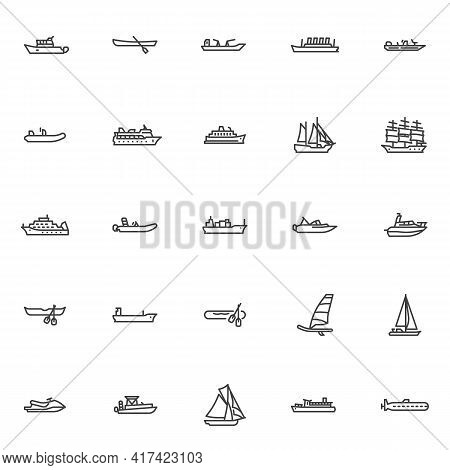 Ships And Boats Line Icons Set. Linear Style Symbols Collection, Outline Signs Pack. Vector Graphics