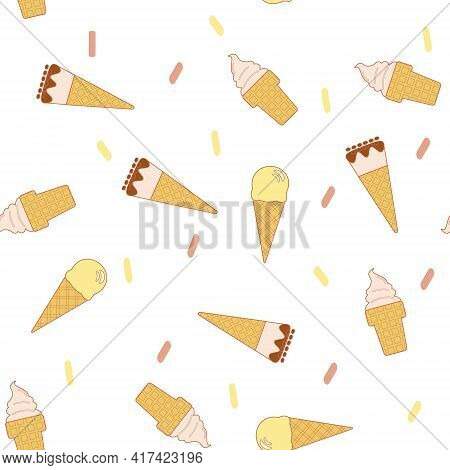 Line Art Vector Illustration Of Waffle Cone With Ball Of Ice Cream Or Gelato In Pastel Colors. Seaml