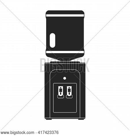 Water Cooler Vector Black Icon. Vector Illustration Bottle On White Background. Isolated Black Illus