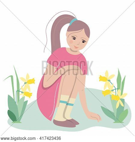 Young Girl Sitting With Daffodils Around Her. Easter Spring Illustration Can Be Used As Festive Desi