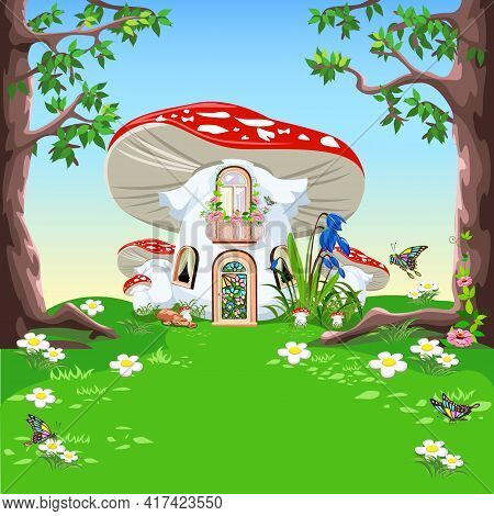 The fairy tale of a house in a fly agaric with a balcony, a door and windows stands in a forest blooming meadow. Vector illustration of a fairy tale on the background of a beautiful landscape.