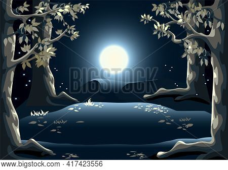 Magic Forest At Night With Tall Trees, Fireflies, Forest Glade And The Moon. Happy Halloween. Fabulo