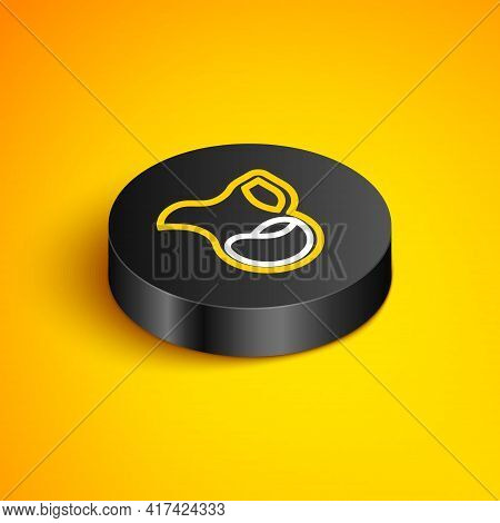 Isometric Line Jug Glass With Milk Icon Isolated On Yellow Background. Kettle For Milk. Glass Decant