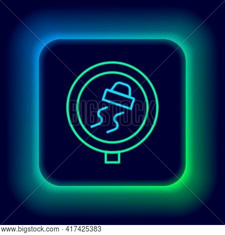 Glowing Neon Line Slippery Road Traffic Warning Icon Isolated On Black Background. Traffic Rules And