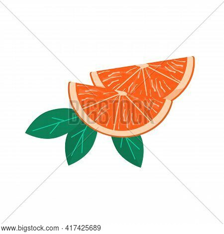 Fresh Orange Wedges, Slice Or Segment Of Fruit. Ripe Juicy Citrus With Leaves. Vector Cartoon Colore
