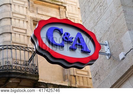 Bordeaux , Aquitaine France - 04 15 2021 : C&a Logo Sign And Brand Text Shop Of Clothing Store Fashi
