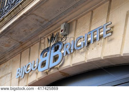 Bordeaux , Aquitaine France - 04 15 2021 : Bb Bijou Brigitte Sign Text And Logo Brand For Jewel Bout