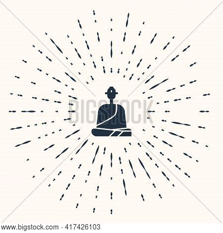 Grey Buddhist Monk In Robes Sitting In Meditation Icon Isolated On Beige Background. Abstract Circle