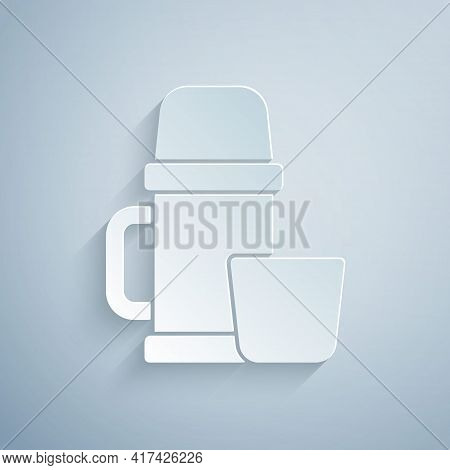 Paper Cut Thermos Container And Cup Icon Isolated On Grey Background. Thermo Flask Icon. Camping And