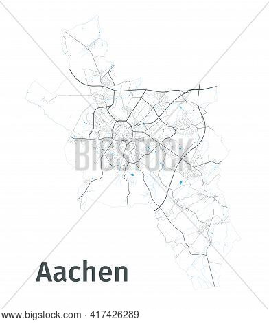 Aachen Map. Detailed Map Of Aachen City Administrative Area. Cityscape Panorama. Royalty Free Vector