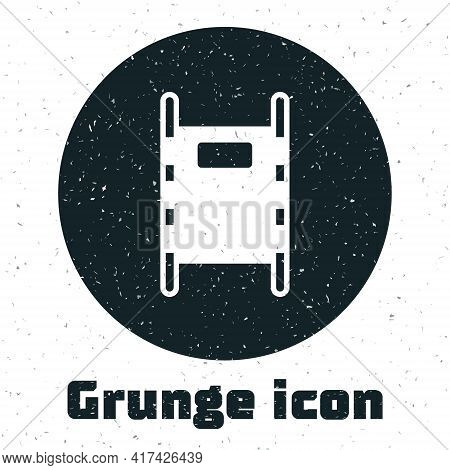 Grunge Stretcher Icon Isolated On White Background. Patient Hospital Medical Stretcher. Monochrome V