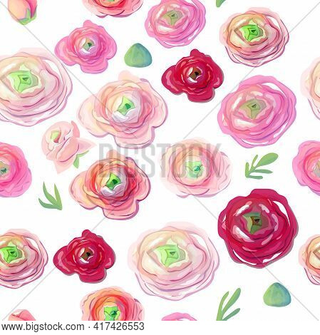 Seamless Pattern With Different Romantic Ranunculus On White Background. Endless Pattern With Romant