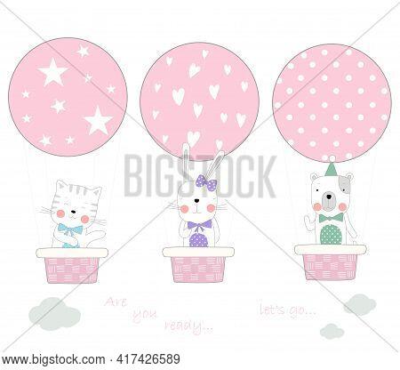 The Cute Baby Animal With Balloon Air. Hand Drawn Cartoon Style
