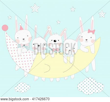 The Cute Baby Rabbit With The Moon. Hand Drawn Cartoon Style