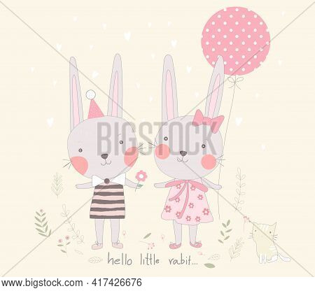 The Cute Baby Rabbit With Balloon And Flower. Hand Drawn Cartoon Style