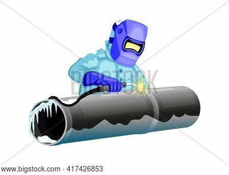 Welder Welds The Pipeline On A White Background.