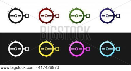 Set Trap Hunting Icon Isolated On Black And White Background. Vector