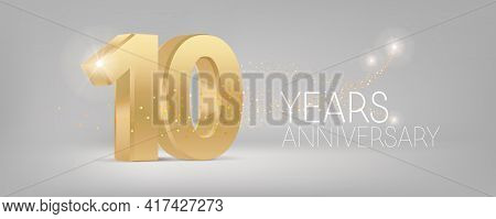 10 Years Anniversary Vector Icon, Logo. Isolated Graphic Design With 3d Number For 10th Anniversary