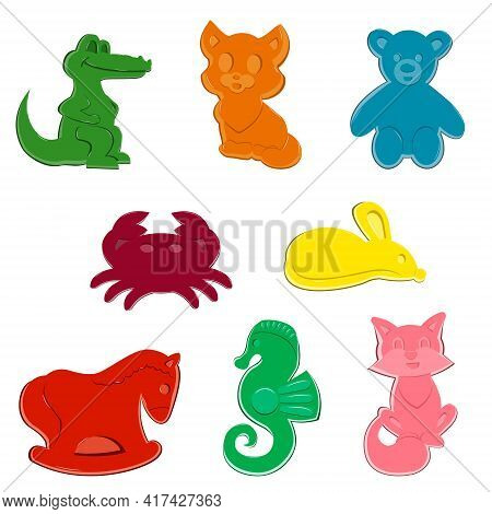 A Set Of Sand Molds. Molds In The Form Of Animals, Toys For Children. Crocodile Cat Crab Mouse Bear