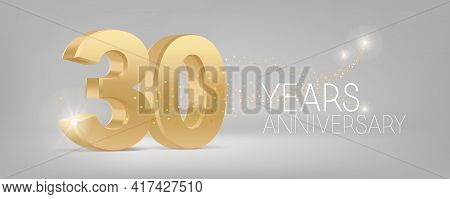 30 Years Anniversary Vector Icon, Logo. Isolated Graphic Design With 3d Number For 30th Anniversary
