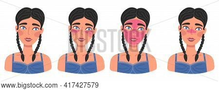 Set Of Portraits Of Cute Happy Young Woman With Cosmetic Mask, Patches And Beauty Routine Products.
