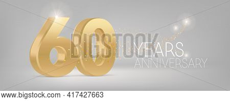 60 Years Anniversary Vector Icon, Logo. Isolated Graphic Design With 3d Number For 60th Anniversary