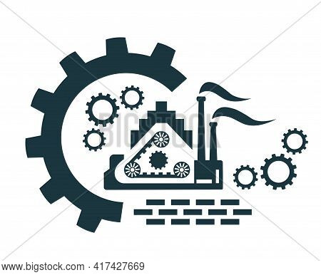 Vector Icon, Factory Logo, Production, Industrial And Factory, Production. Industrial Facility.