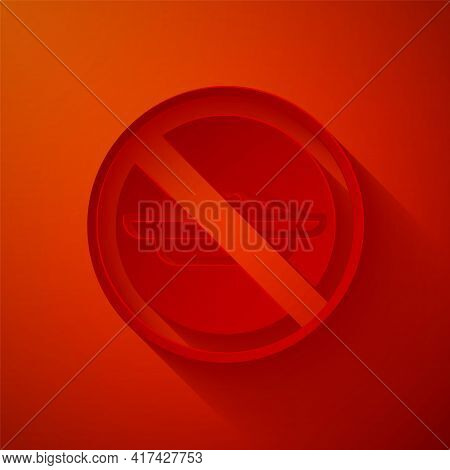 Paper Cut Food No Diet Icon Isolated On Red Background. Healing Hunger. Paper Art Style. Vector