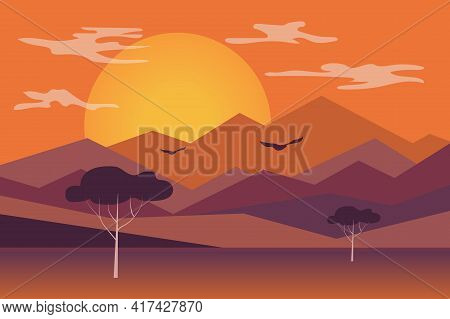 Sunset In Mountains Landscape Background In Flat Style. Setting Sun Is Shining Over Mountain Peaks A
