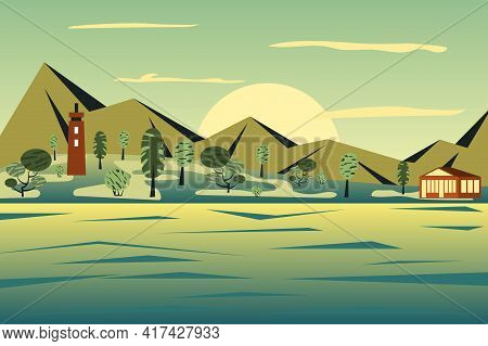 Lighthouse By Sea Landscape Background In Flat Style. View Of Mountains Peaks, House At Seacoast Isl