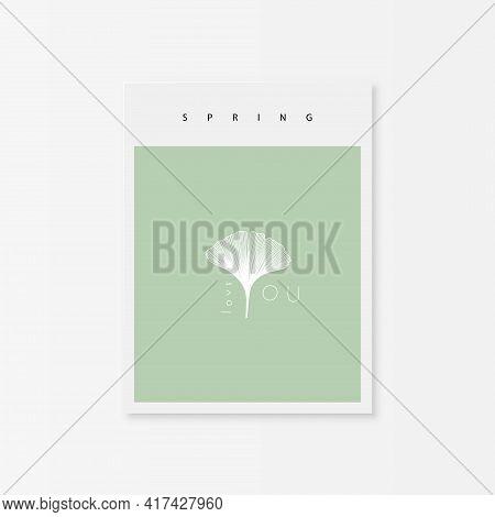 Spring Greeting Card With Ginkgo Biloba Leaf. I Love You. Hand Drawn Vector Illustraion.