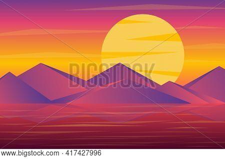 Sunset Over Mountains Peaks Landscape Background In Flat Style. Huge Sun Over Rock Range, Reflection