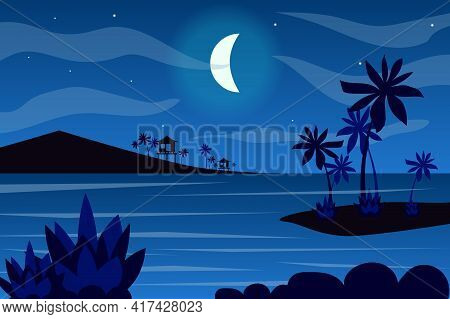 Moon Over Tropical Islands Landscape Background In Flat Style. Moonlight At Night Sky, Bungalow Silh