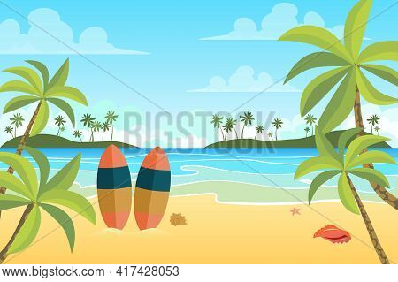 Tropical Beach With Surfboards Landscape Background In Flat Style. Seashore Or Ocean, Palm Trees On