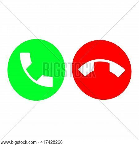 Set Of Call, Accept And Decline Or Reject Ringing Call Or Red And Green Yes No Buttons With Handset.