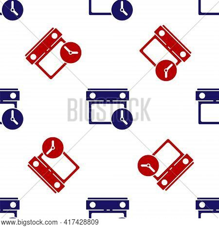 Blue And Red Calendar And Clock Icon Isolated Seamless Pattern On White Background. Schedule, Appoin