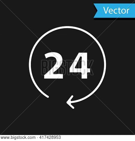 White Clock 24 Hours Icon Isolated On Black Background. All Day Cyclic Icon. 24 Hours Service Symbol