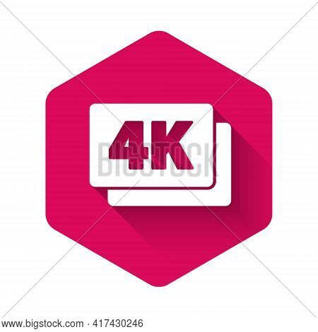 White 4k Ultra Hd Icon Isolated With Long Shadow. Pink Hexagon Button. Vector