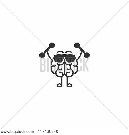 Black Brain With Dumbbells And Sunglasses Icon. Intellect, Phsychology, Knowledge Simple Pictogram I