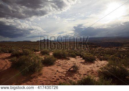Page, Arizona / Usa - August 05, 2015: Landscape Near Horseshoe Bend, Page, Arizona, Usa