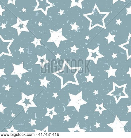 Seamless Abstract Pattern With White Stars Of Different Rotation And Size. Grunge Star Powder Blue B