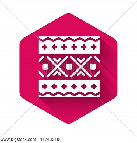 White Ukrainian Ethnic Pattern For Embroidery Icon Isolated With Long Shadow. Traditional Folk Art K