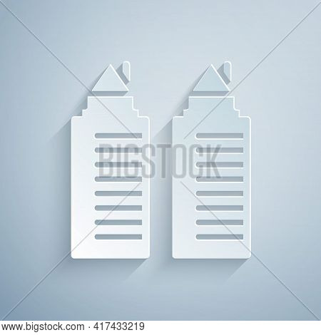 Paper Cut Two Tall Residential Towers In The Dnipro City Icon Isolated On Grey Background. Paper Art