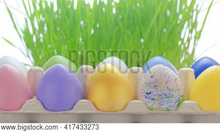 Easter Celebrating. Colourful Painted Eggs In Cardboard Box. Hello Spring And Easter Concept. Copy S