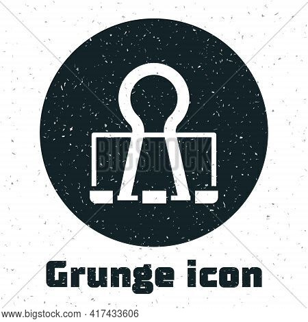 Grunge Binder Clip Icon Isolated On White Background. Paper Clip. Monochrome Vintage Drawing. Vector