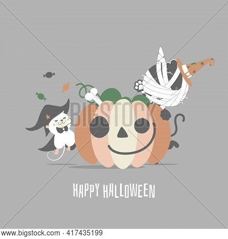 Happy Halloween Holiday Festival With Mummy Cat, Mouse And Pumpkin, Flat Vector Illustration Cartoon