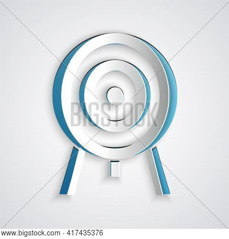 Paper Cut Target Icon Isolated On Grey Background. Dart Board Sign. Archery Board Icon. Dartboard Si
