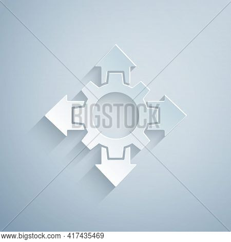 Paper Cut Project Team Base Icon Isolated On Grey Background. Business Analysis And Planning, Consul