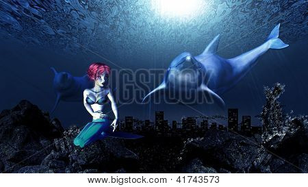 Illustration of friendly dolphins and mermaid sealife underwater scene. poster